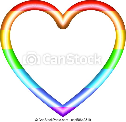 Vector Rainbow Colored Heart Isolated On White Background Shining 3D Icon Template