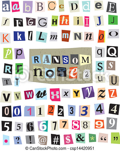 Vector Ransom Note 1 Cut Paper Letters Numbers Symbols