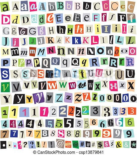 Vector Ransom Note Cut Paper Letters Numbers Symbols Eps