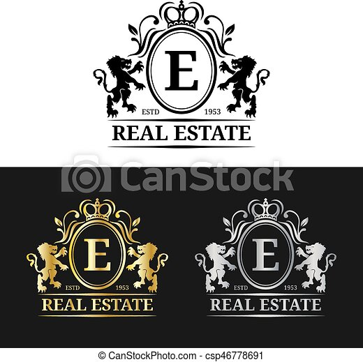 Vector real estate monogram logo templatesxury letters eps graceful vintage characters with crown and lion symbols illustration used for invitation business card etc reheart Choice Image