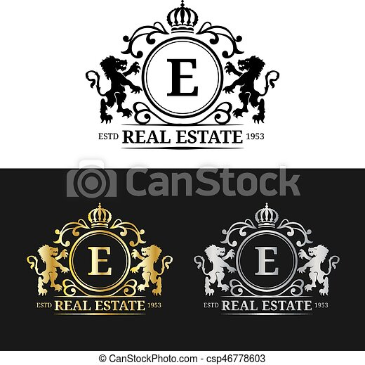 Vector real estate monogram logo templatesxury letters vector graceful vintage characters with crown and lion symbols illustration used for invitation business card etc reheart Choice Image