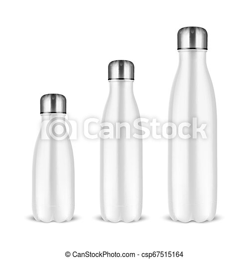 Vector realistic 3d white empty glossy metal reusable ...