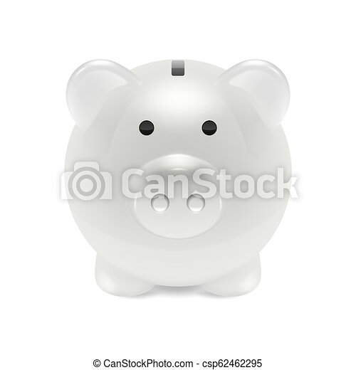 Retro Bank Design.Vector Realistic 3d White Retro Piggy Bank Closeup Isolated On