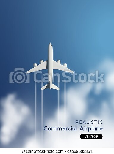 Vector Realistic Airplane Flying Through Clouds Realistic Vector