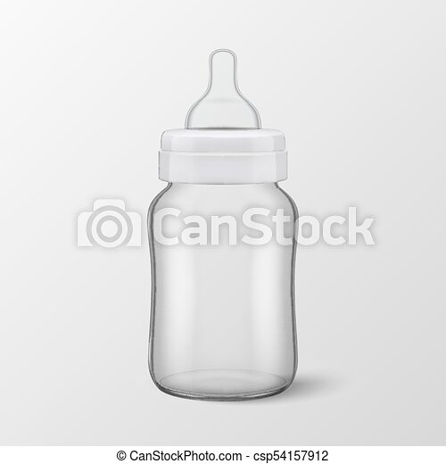 vector realistic blank baby bottle icon closeup isolated on