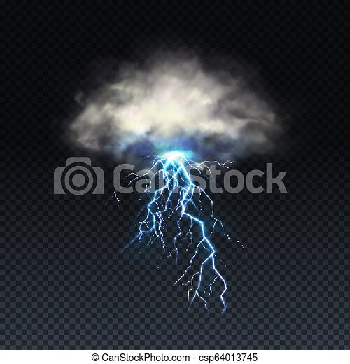 Vector realistic blue lightning with grey cloud