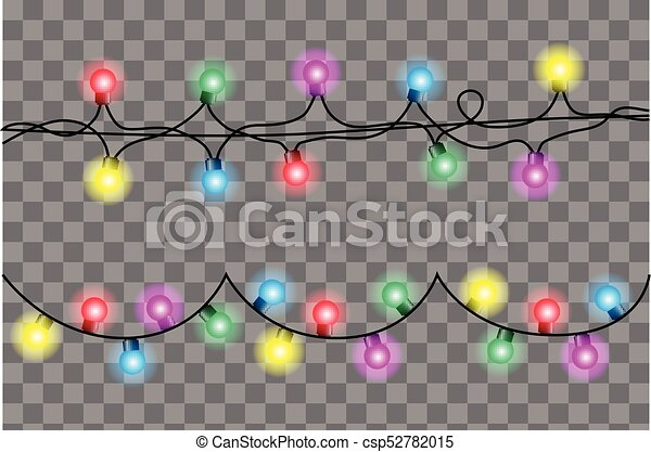 Vector realistic colorful shining christmas garland set isolated