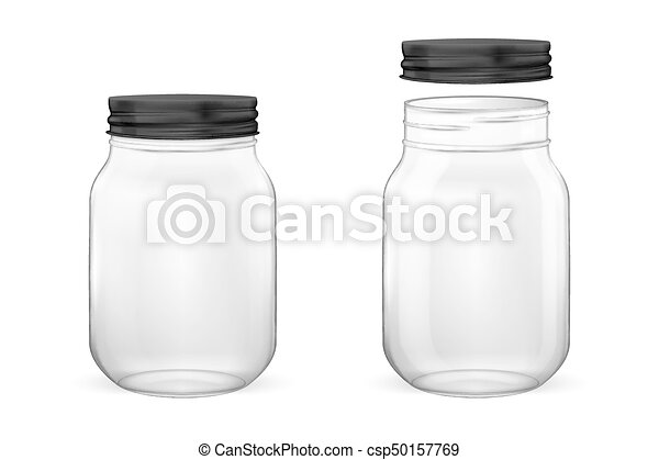 vector realistic empty glass jar for canning and preserving set with