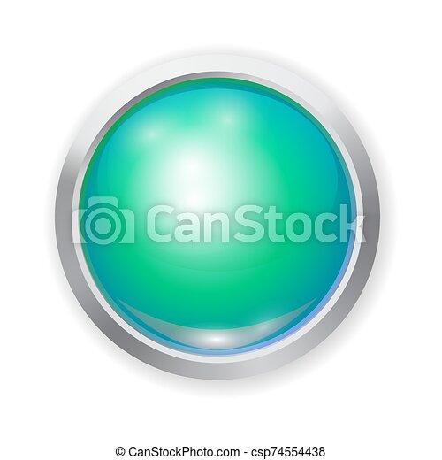 Vector realistic green shiny plastic button with patch of light and metal elements - csp74554438
