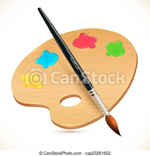 Vector realistic isolated paintbrush and wooden palette - csp23261652