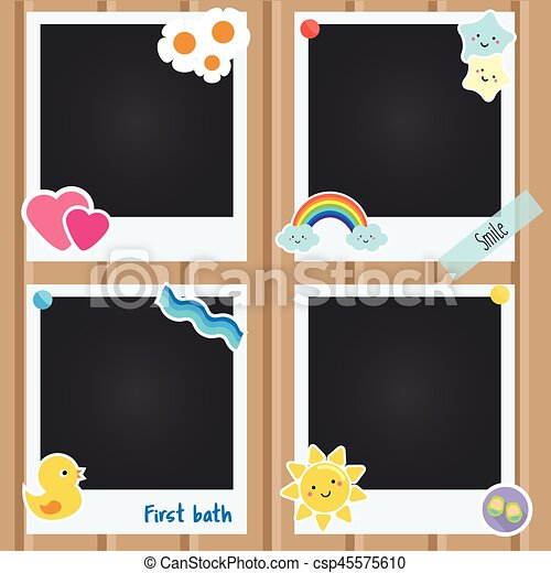 vector realistic photo frames for children newborn baby albums template for applications