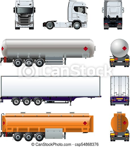 Vector realistic semi truck mockup set isolated on white - csp54868376