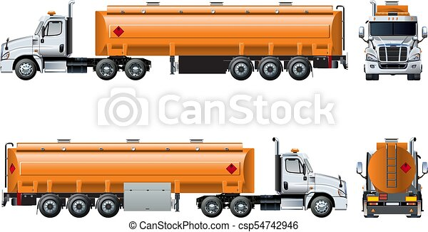 Vector realistic tanker truck template isolated on white - csp54742946