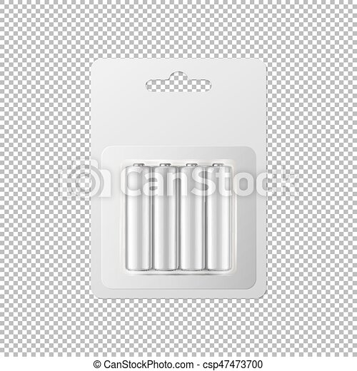 Vector realistic white alkaline AA batteries in blister packed icon set. Design template for branding, mockup. Closeup isolated on transparent background. - csp47473700