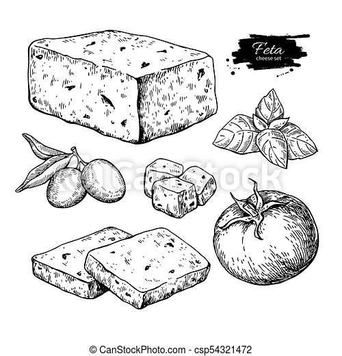 Bloqueo de queso feta griego, dibujo en rodajas. La mano del vector atrae la comida - csp54321472