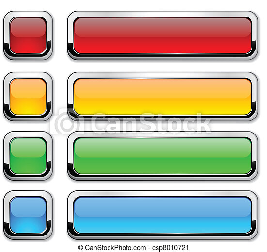 Vector rectangular buttons on white. - csp8010721