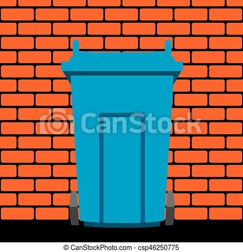 vector  recycling wheelie bin against the background of a brick wall - csp46250775
