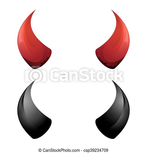 vector red and black devil horns isolated vector red and black rh canstockphoto com Devil Horns Drawing free clipart devil horns