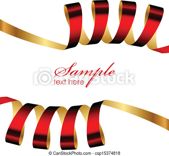 Vector red and gold ribbon frame.