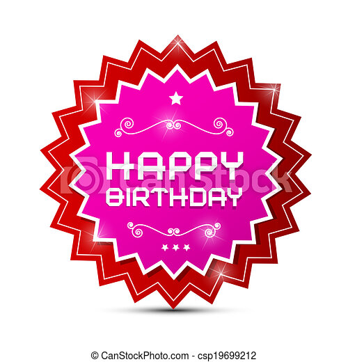 Vector Red and Pink Happy Birthday Label on White Background - csp19699212