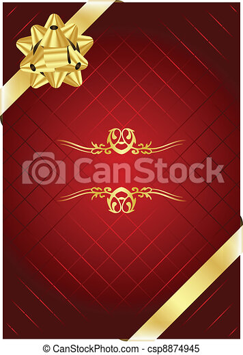 Vector red background with gold bow - csp8874945