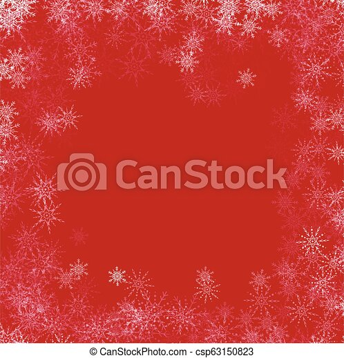 Vector red Christmas background with white snowflakes. - csp63150823