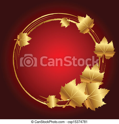 Vector red frame with gold leaves - csp15374781