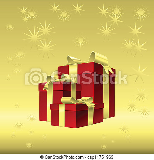 Vector red gift box with gold ribbon bow - csp11751963