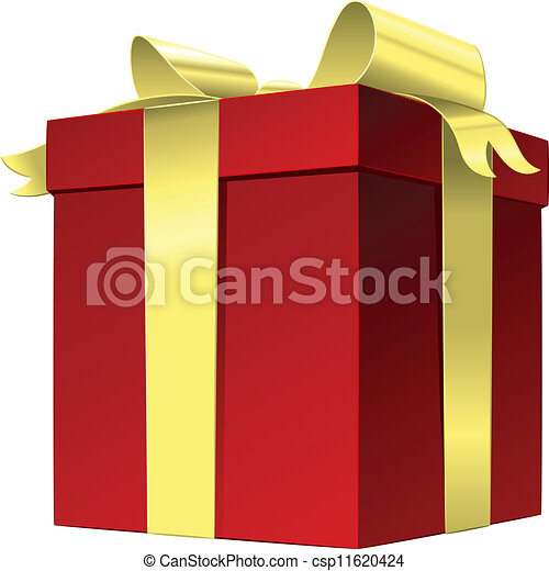 Vector red gift box with gold ribbon bow - csp11620424