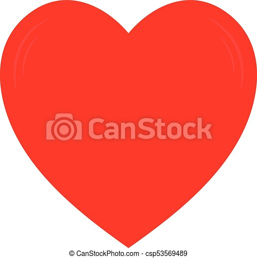 Vector red heart shape. Love symbol. Isolated on white background. - csp53569489