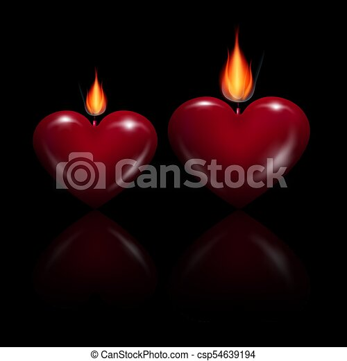 Vector Red Heart Shaped Candles - csp54639194