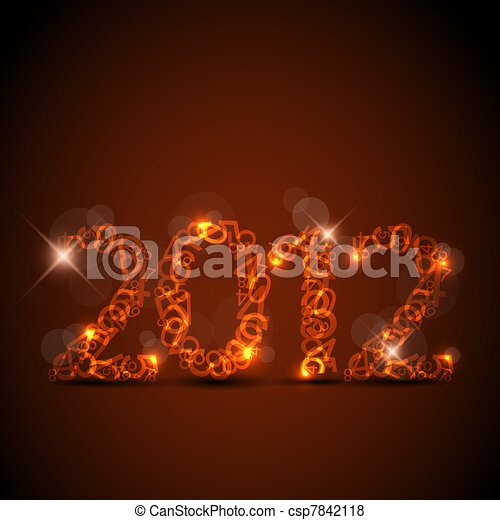 Vector red New Year card - csp7842118