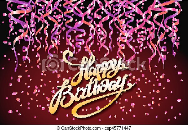 Vector Red Party Background Happy Birthday Celebration Design Vector Confetti Elements Greeting Card Template Colors Art