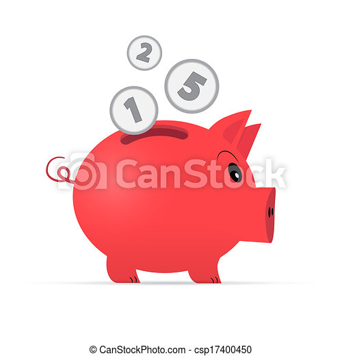 Vector Red Piggy Bank Isolated on White Background  - csp17400450
