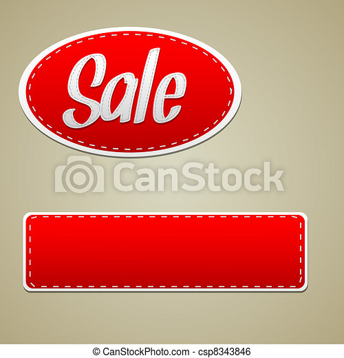 Vector Red sale stitched label - csp8343846