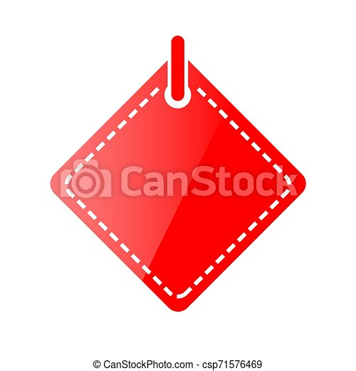 Vector Red Shining Square Blank Tag, Icon Style, Isolated on White - csp71576469