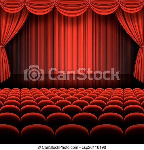 Vector Red Stage Curtains
