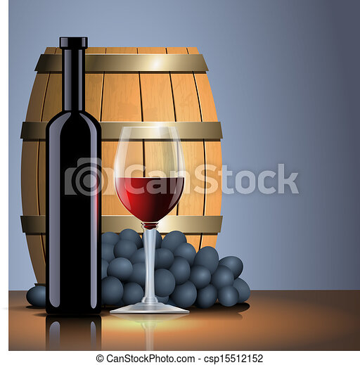 Vector red wine, bottle, glass and old barrel - csp15512152