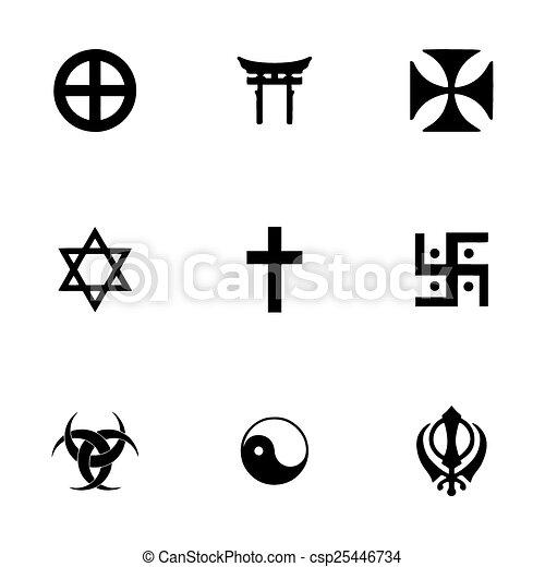 Vector Religious Symbols Icon Set On White Background Vectors
