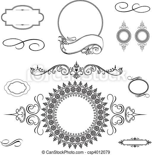 Ornamento de remolino de vectores y marcos - csp4012079