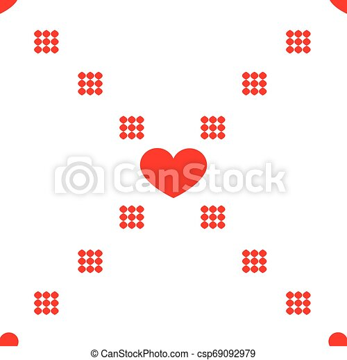 Vector repeating texture. Seamless geometric pattern with hearts. - csp69092979