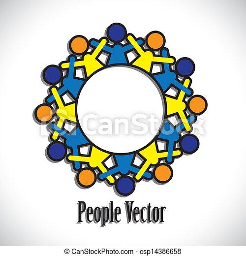 Concepto vector gráfico- abstracto niños coloridos teniendo iconos divertidos. La ilustración representa conceptos como los sindicatos trabajadores, diversidad de empleados, amistad comunitaria compartir, niños disfrutar,etc - csp14386658