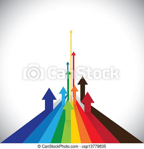 La ilustración del vector de flechas muestra algunos ganadores y algunos perdedores. Este gráfico colorido también puede representar ventas de competidores o actuaciones de empleados o rendimiento de activos, etc - csp13779835
