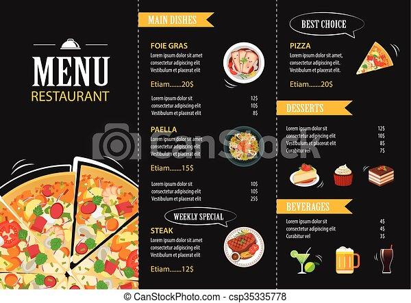 vector restaurant cafe menu template flat design - csp35335778