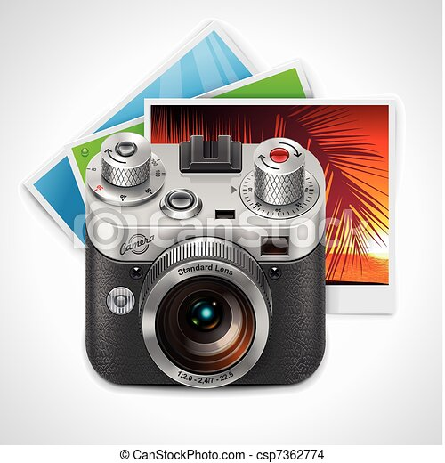 Vector retro camera and photos XXL  - csp7362774
