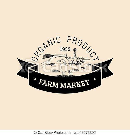 Vector retro family farm logotype. Organic premium quality products badge. Hand sketched rural landscape illustration - csp46278892