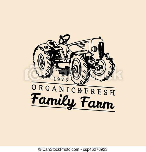 18c946830aba Vector Retro Family Farm Logotype. Organic Premium Quality Products Logo.  Vintage Hand Sketched