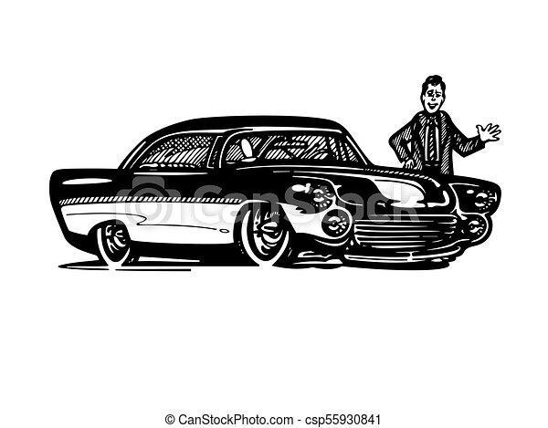 Vector Retro Hotrod Car Clipart Cartoon Illustration Classic