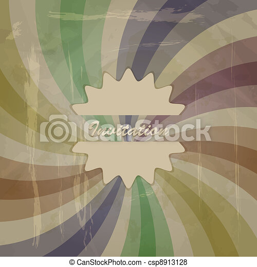 vector retro invitation on abstract background with grungy blots, old paper texture - csp8913128