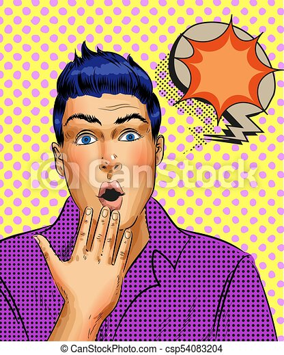 Vector retro pop art surprised young man - csp54083204